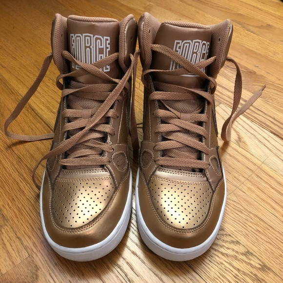sale retailer 516ca 5158f Nike Air Force 1 Rose Gold High Tops. M5b4891f51070eeead9f26140